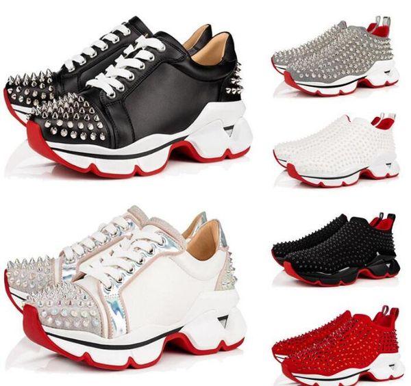 Red Bottom Spike Calcetín Diseñador Mujer Hombre Zapatos casuales. Pisos de suela roja con Krystal Spikes, 30mm Negro Blanco Donna Flats Sneakers 80
