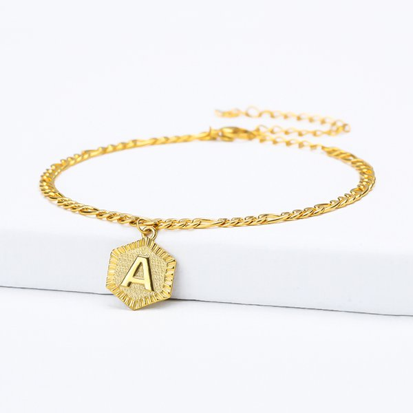ashion Schmuck Fußkettchen Hexagon A-Z Brief Initial Fußkettchen für Frauen Gold Edelstahl-Fuss-Ketten weibliche Knöchel-Armband am Bein Fash ...