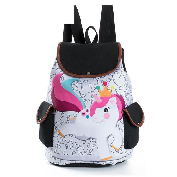 good quality Cartoon Unicorn Printed Casual Backpack Female Canvas Drawstring Design School Backpack For Teenage Girls Travel Bag