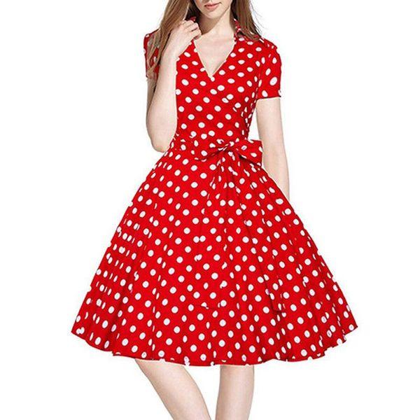 Moda das Mulheres Vestido de Poliéster Retro Imprimir Estilo Hepburn Polka Dot Tanque de Polka Com Decote Em V Da Cintura Mini Vestido Vestidos de fiesta