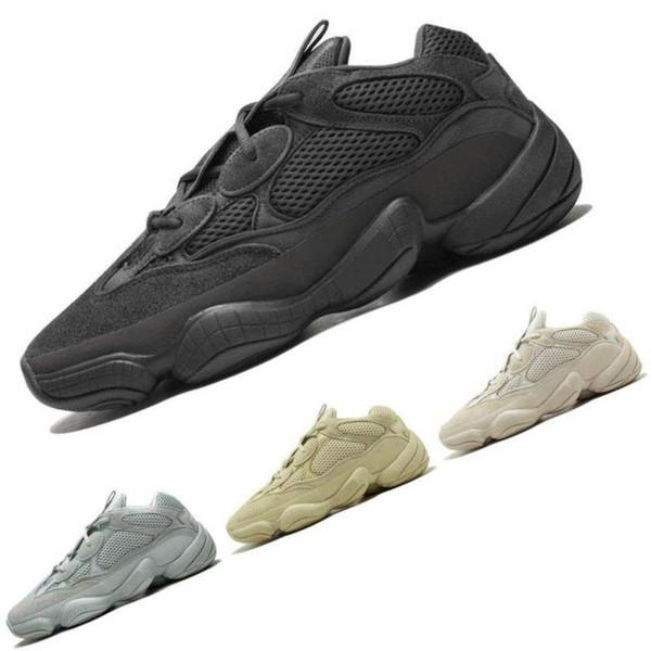 Com caixa Kanye West 500 Deserto Rato Blush 500 s Sal Super Lua Amarelo Utilitário preto mens moda de luxo das mulheres dos homens designer de sandálias sapatos