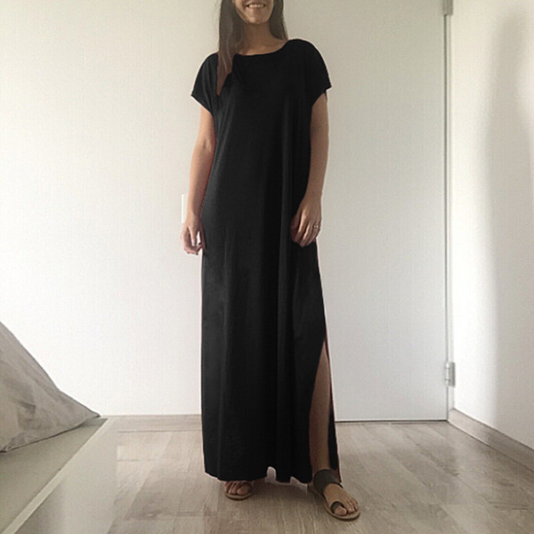 d610db454ba6 2019 New Fashion Women Casual Long Dress Solid Split Short Sleeve Loose  Slit Maxi Tee Dress