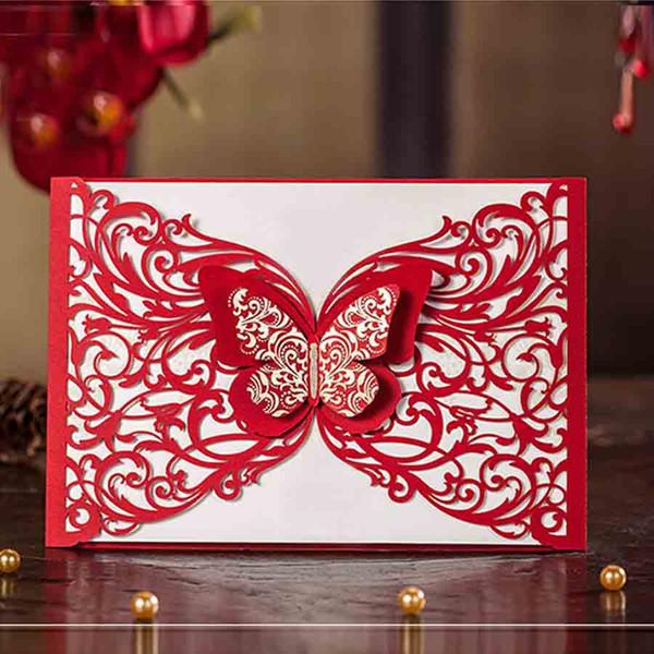 100pcs Wishmade Red Biglietti invito a nozze con la farfalla di stile cinese per l'impegno Bridal Shower personalizzabile