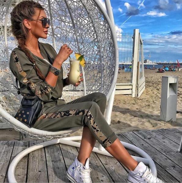Primavera nuova moda per il tempo libero paillettes cuciture giacca da donna a maniche lunghe sportswear moda femminile due pezzi tuta sportiva per il tempo libero