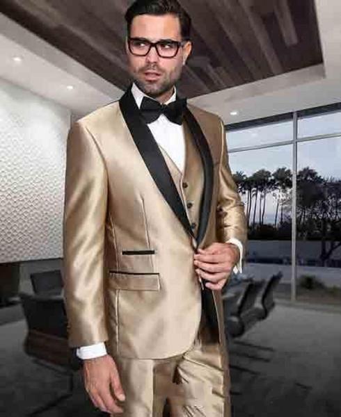 Classic Design Groom Tuxedos Black Shawl Lapel Groomsmen Mens Wedding Suits Popular Man Blazer Suits(Jacket+Pants+Vest+Tie) 717