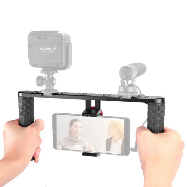 Neewer Metal Smartphone Video Rig, Grabación de películas Grabación Vlogging Rig Case Estabilizador de agarre portátil con montaje de zapata fría