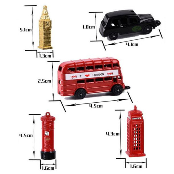Cool British Big Ben Model Small Keychain London Red Telephone Booth Bus Small Post Office Box Keyring DIY Car Key Chain Ring Holder for Men