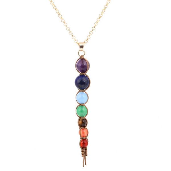 Collier avec perles colorées Viennimel Shambhala en chaîne de chakra chakra en pierre naturelle