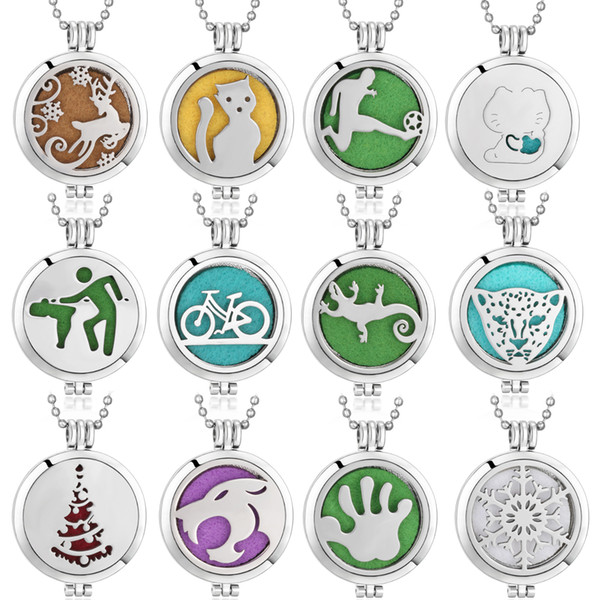 1PCS Aromatherapy Necklac Silver Plated Tree of Life Love Flower Pattern Locket Pendant Essential Oil Diffuser Necklace with 1pcs Pad