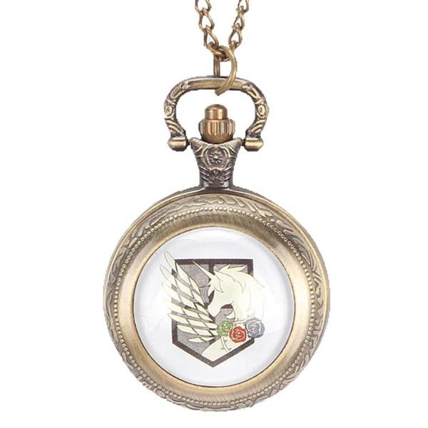 Classic Bronze Quartz Pocket Watch Attack on Titan Three Corps Flag Necklace Pendant Pocket Watch for Men Women