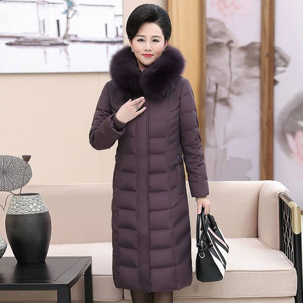 2019 New Winter Middle Age Women Real Fox Fur Collar White Duck Down Long Jacket Female Thick Warm Slim Parka Puffer Coat M22