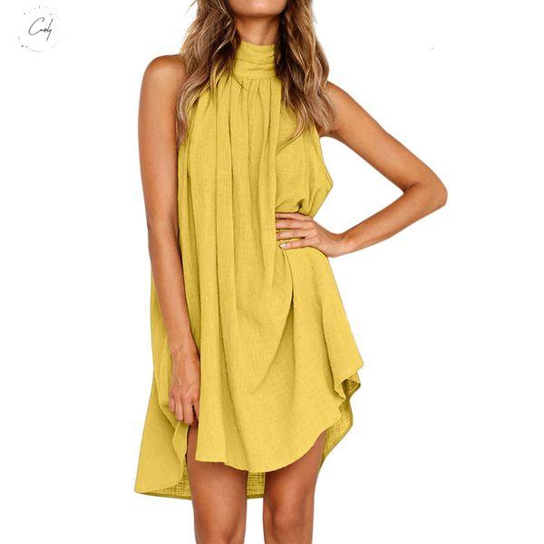 Büro beiläufige unregelmäßige Kleid-Damen 2019 Sommer-Kleid für Strand-Kleid-Frauen-Sleeveless Partei-Minisommerkleid Weibliche Designerkleidung