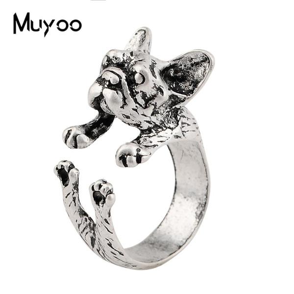 2019 neue Bulldogge Ringe Vintage Alte Silber Nette Persönlichkeit Ring Kunst Dekoration Paar Geburtstagsgeschenk