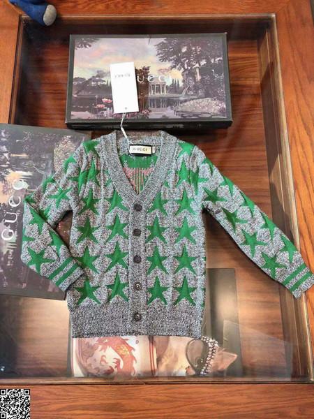 Erkek kazak çocuklar tasarımcı giyim sonbahar çift örgü hırka kazak yıldız desen tasarım kaşmir karışımı kazak hırka