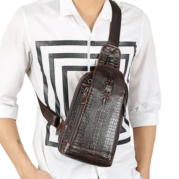 Vintage Men Genuine Leather Sling Day Pack Chest Bag Crocodile Grain Pattern Travel Cross Body Messenger Shoulder Packet Pouch