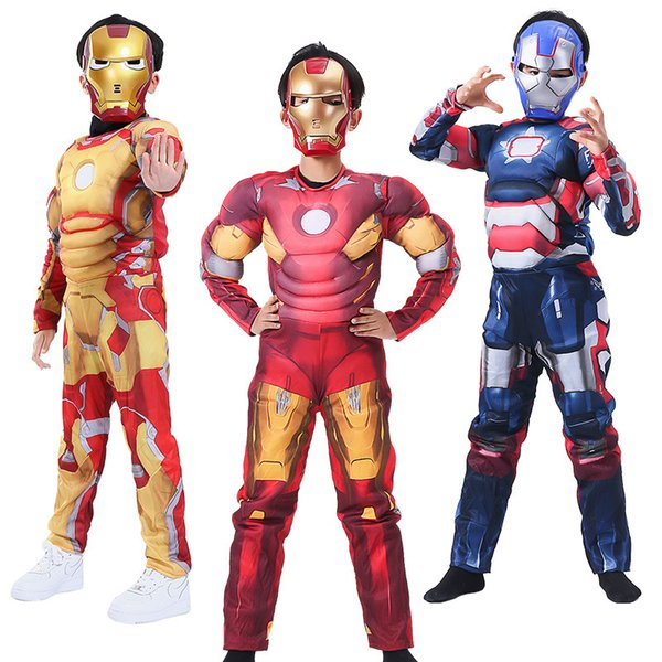 Halloween Cosplay Boys Kid Clothes Iron Man Transforms Jumpsuit Matching Mask Carnival Superhero Role Play Prom Gown Costume