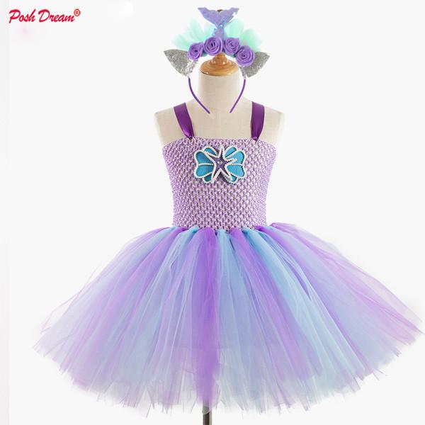 POSH DREAM Lavender Mermaid Cosplay Cartoon Kids Tutu Dresses Mint Green Sea Princess Shell Kids Girls Fashion Mermaid Clothes