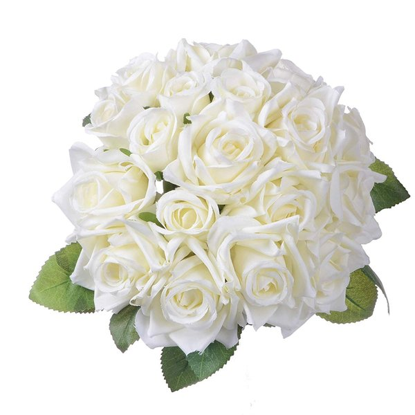 Artificial Flowers Rose Bouquet 2 Pack Fake Flowers Silk Plastic Artificial White Roses 18 Heads Bridal Wedding Bouquet for Home Garden Part