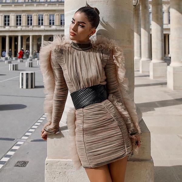 Adyce 2018 nova chegada mulheres inverno celebridade noite pista vestido de festa sexy lace manga comprida mini clube de luxo vestidos vestidos