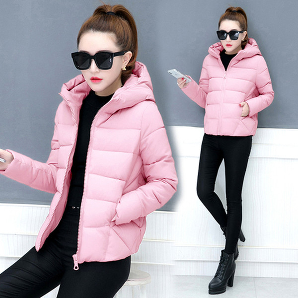 YICIYA pink coat jacket parka women warm thick Bread coats 2018 winter hooded solid plus size female jaket clothing black