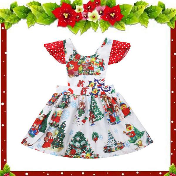 Bebek Çocuk Kız bebekler 6M-3T Noel Santa Elbise Tatil Parti Giyim Kıyafet Salıncak