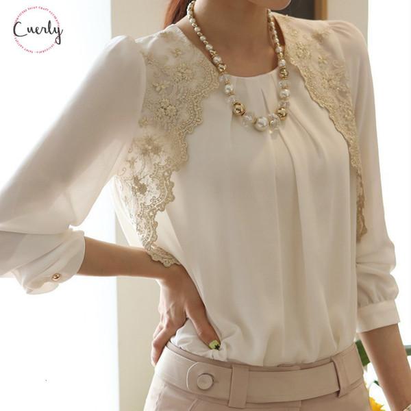 Loose Chiffon Blouse Women Feminine Lace Patchwork O Neck Shirt Female Long Sleeve Office Tops Plus Size 5Xl