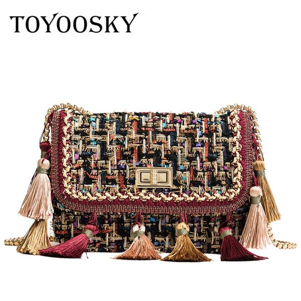 Toyoosky 2018 Ins Hot Fashion Wool Women Handbag Tassel Plaid Messenger Bag Vintage Ladies Flap High Quality Chain Shoulder Bag J190614