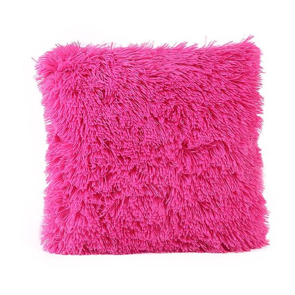 Solid Color Long Plush Cushion Cover Warm Soft Square Sofa Car Nap Throw Pillow Case Home Decor Household Supplies Decoriation no Pillow