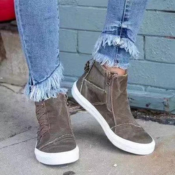 2020 women's canvas camouflage zip sneakers woman shoes slip on high flats ladies casual platform plus size female walking