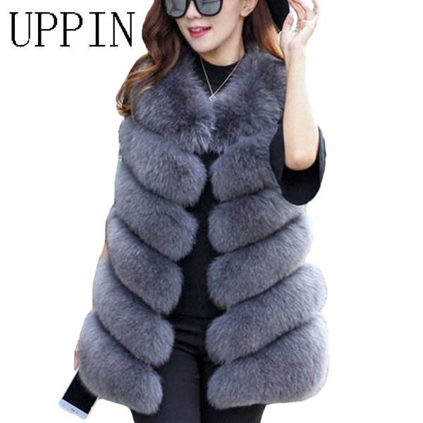 S-3XL Women Fashion Winter Faux Fur Coat Long Outwear Thick Warm Casual Vest Top