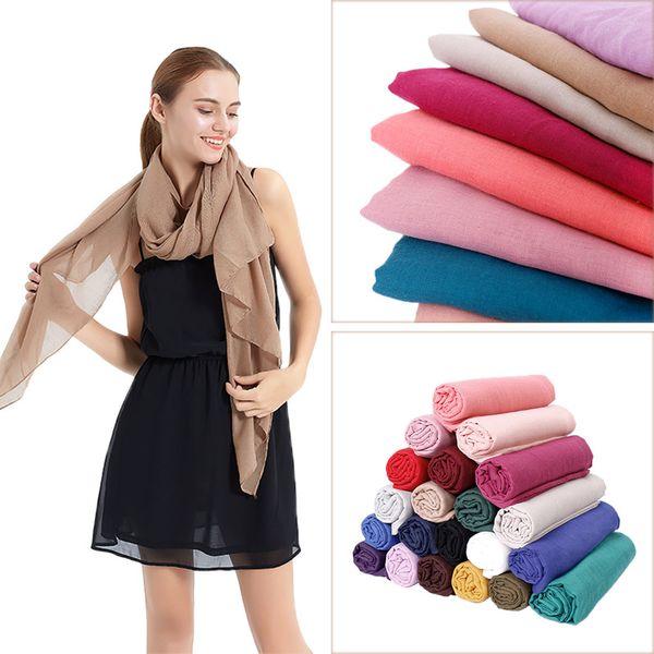 2019 solid color women wrap scarf plain cotton viscose scarves shawl fashion muslim hijab headband soft maxi pashmina 180*90cm