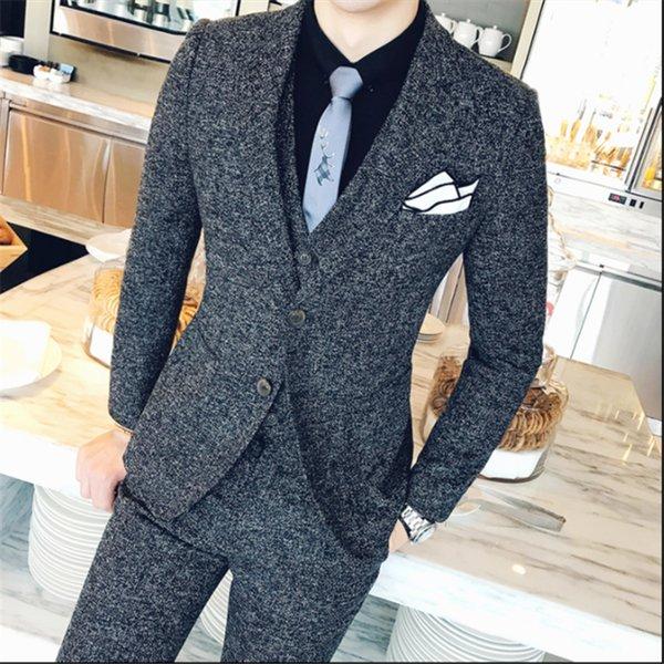 Classic Men's Suits Tuxedo Slim Fit Business Banquet Mens Suit Jacket with Vests and Pants 2019 New Men Wedding Suits
