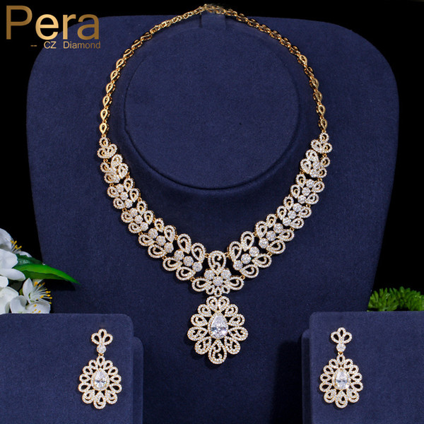 Pera Luxurious Yellow Gold Color Dubai Bridal Wedding Big Statement Cubic Zirconia Necklace and Earrings for Women Jewelry J007