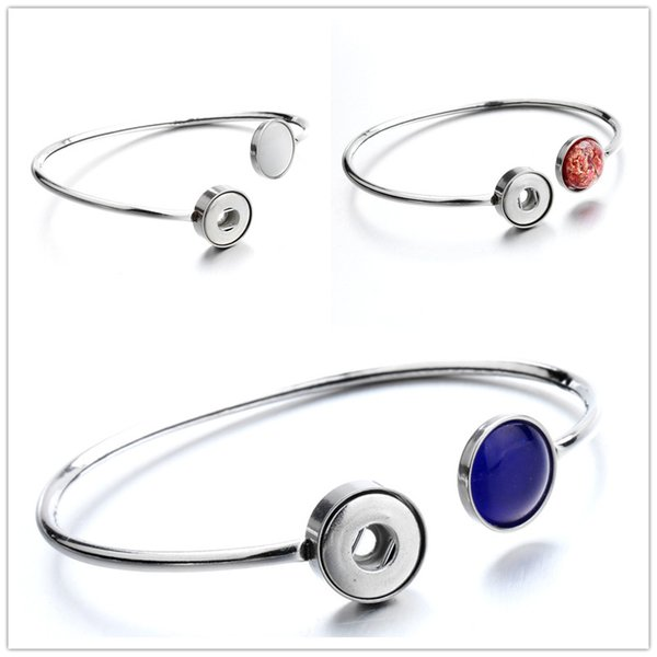 Noosa New Snap Bracelet Jewelry 12mm Stainless Steel Ginger Snap buttons Cuff Bangle fit DIY 12mm Snaps Wholesale