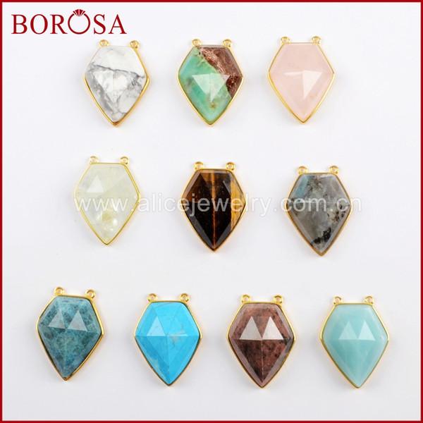 BOROSA 5PCS Pentagon Multi-kind Faceted Gems Druzy Connector Labradorite Amazon Stone Double Charms Jewelry for Necklace WX1029