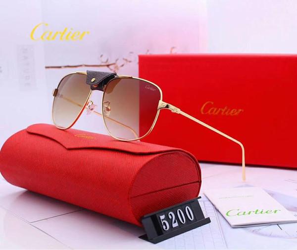 Lentes de sol de diseñador para mujer para hombre Lentes de sol de lujo Gafas Adumbral de vidrio UV400 Modelo 5200 6 colores opcional de alta calidad con estuche
