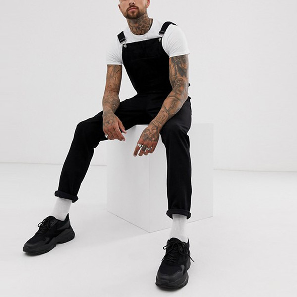 Fashion Men's Ripped Jeans Jumpsuits streetwear Distressed Denim Bib Overalls Male Suspender Pants Plus Size