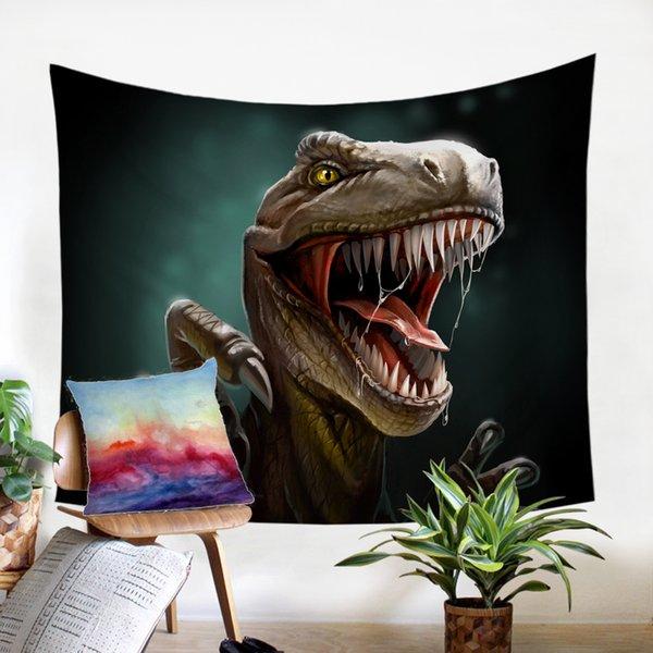 De Spike Dinosaur Tenture mandala Serviette de plage tapisserie mur Aquarelle tenture Tapis Dorm Décor psychédélique tapisserie