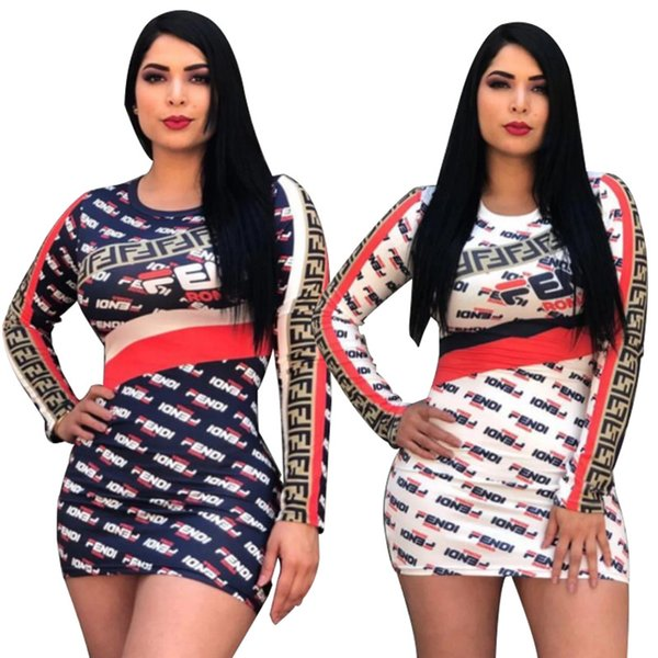 F Letters Print Dress Long Sleeve Skinny Short Skirt Women Round Neck Bodycon Striped Tight Dresses Summer Club Party Beach Shirts C43006