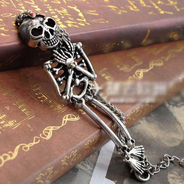 Wholesale- NEW STYLE Retro Silver Rock Gothic Punk Double Skeleton Skull Bangle Charm Bracelet