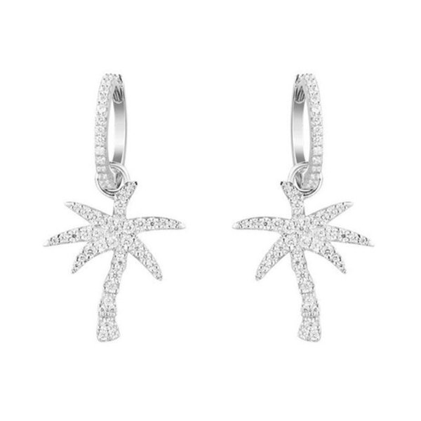 SLJELY 925 Sterling Silver Palm Tree Drop Earrings Micro Inlay Cubic Zirconia White/Rose/Gold Color Women Party Monaco Jewelry C18122801