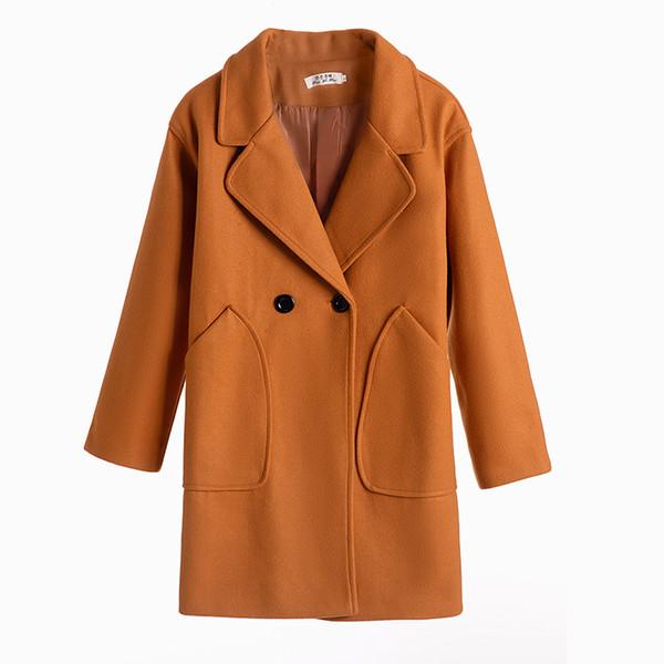 2019 Новый тонкий полушерстяные пальто Мода женщин с длинным рукавом отложным воротником Outwear куртка Повседневный Осень Зима Элегантный Шинель