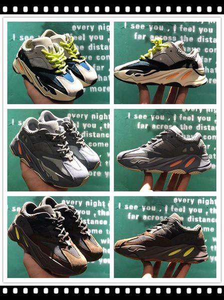 Wave Runner 700 Inertia Mauve Grey Chalk White-Core Black Children Sports Shoe Kanye West Kid Boys Girls Deisgner Sneakers