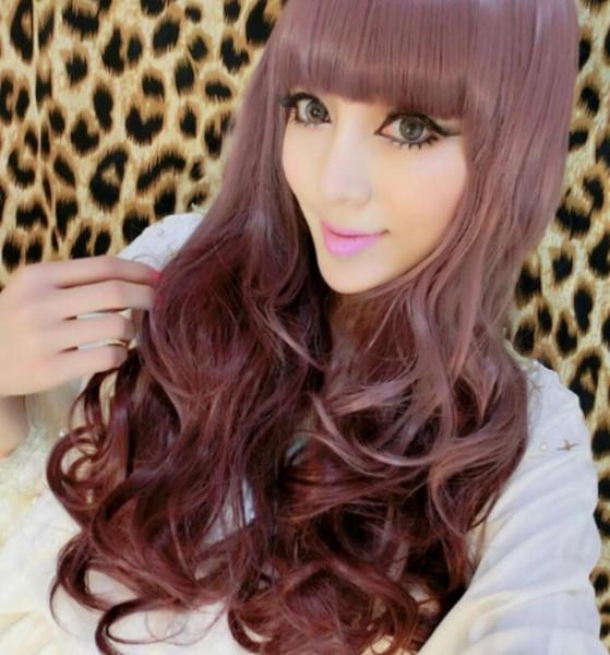 WIG LL<<< 003569 Harajuku taro color gradient long lolita cosplay wig curly hair