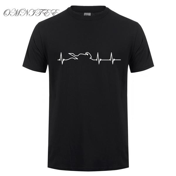 Omnitee New Summer Motor T Shirt Men Short Sleeve Cotton Motorbike Heartbeat T-shirts Mens Clothing Camisetas Shirt OT-738