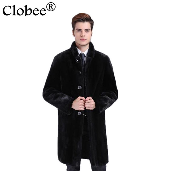 New Men Faux Fur Stand Collar 2019 Winter new thicken warm long male jacket coats plus size black fur leathrt overcoats WR672
