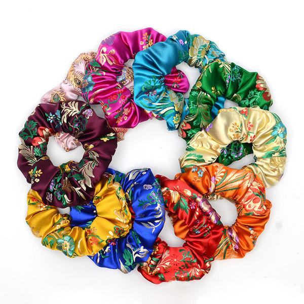 Damenmode Chinoiserie Seide Weiche Gestickte Blumen Haarschmuck Krawatten Bands Seil Gummiband Stirnbänder Kopfschmuck 6C2812