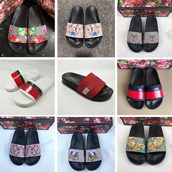 En Moda Bayan Tasarımcı Slaytlar Terlik Lüks Kaplan Arı Yılan Çiçekler Desi Erkekler peep toe Sandalet Çiçek brocade Plaj Loafer'lar ayakkabı
