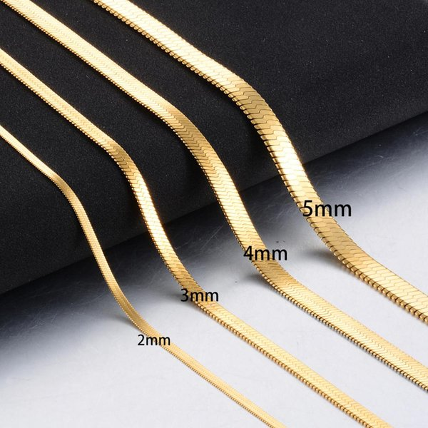Fashion Jewelry Necklace Width 3mm Stainless Steel Flat Necklace Gold Waterproof Filmy Snake Chain Men Gift Jewelry Various Length