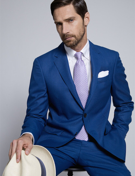 Mucielee Ternos Masculinos Slim Fit Blazer Tuxedo Cheap Suits For Men Prom Royal Blue Suit Masculino 2 Pieces (Jacket+Pants)